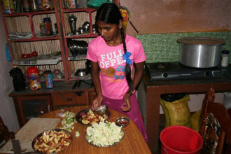 Sunita cutting vegetables